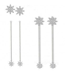 Vixi Nova Detachable Chain Earrings Silver
