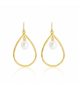 Brushed gold, pearl chandelier earrings