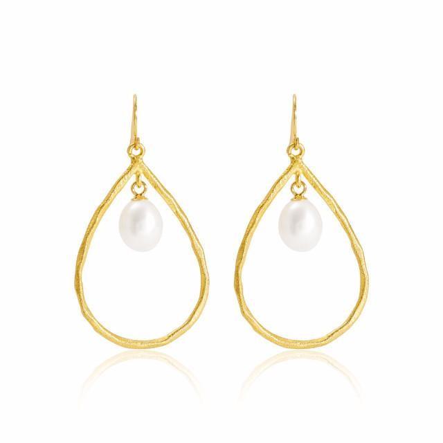 Brushed gold pearl chandelier earrings sophisticato jewellery aloadofball Gallery