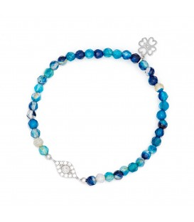 Lucky Eyes Blue Agate Bracelet with Crystal Charm