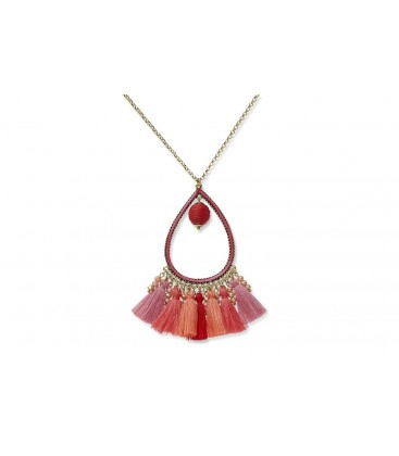 Boho Betty Aziza Chain Necklace with Coral Tassels