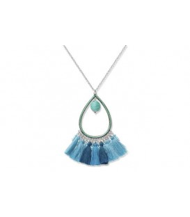 Boho Betty Selene Chain Necklace with Aqua Tassels
