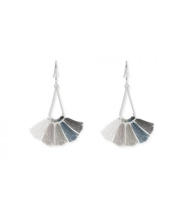 Boho Betty Baiji Silver/Grey Tassel Earrings