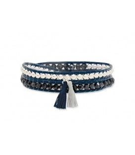 Boho Betty Starry Twist Navy Leather Wrap Bracelet with tassels