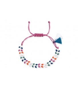 Boho Betty Tang Multi Colour Leaf Chain Bracelet