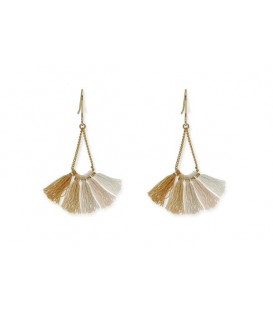 Boho Betty Ray Gold, Beige Ombre Tassel Earrings