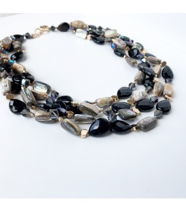 Bcharmd Faye semi precious agate and abalone sea shell short layered necklace