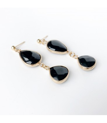 Bcharmd semi precious Black Agate earrings