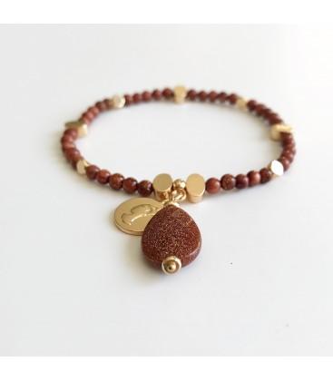 Bcharmd Adrienne Caramel Brown Sandstone Bracelet Gold
