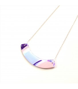 Jojo Blue Curve Necklace Purple Haze Silver