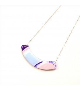 Jojo Blue Curve Necklace Purple Haze Silver