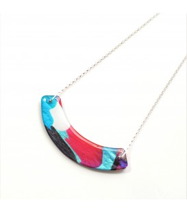 Jojo Blue Curve Winter Fuchsia Necklace