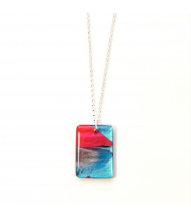 Jojo Blue Rectangle Winter Fuchsia Pendant
