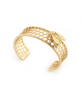 Bee & Honeycomb Gold Cuff