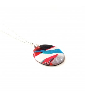 Jojo Blue Round Long Winter Fuchsia Pendant