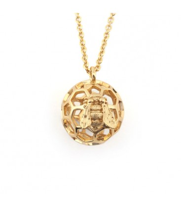 Honeycomb Orb Pendant Gold