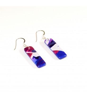 JoJo Blue Deep Pink Rectangle Earrings