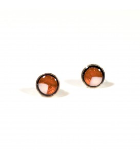 JoJo Blue Bronze Stud Earrings