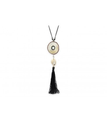Boho Betty Euterpe Long Grey Tassel Necklace