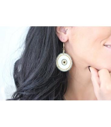 Boho Betty Sousta MOP Grey Beaded Earrings