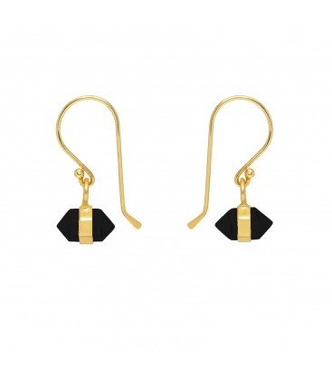 Mirabelle Horizontal Mini Double Point Black Onyx Earrings