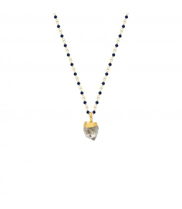 Mirabelle Lapis Rosary with Herkimer Diamond Pendant