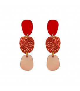 Lily Earrings - Red Copper Glitter