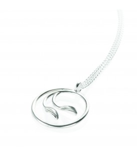 Collette Waudby 2 Tiny Forged Leaves in Circular Pendant