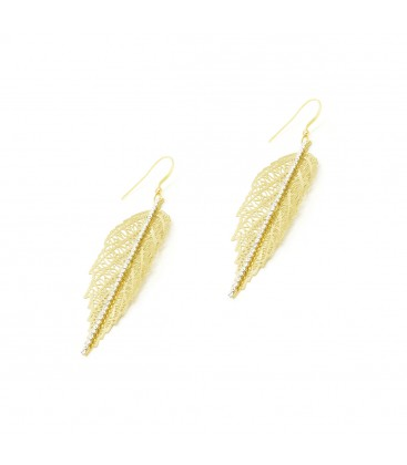Leaf with Crystals Earrings