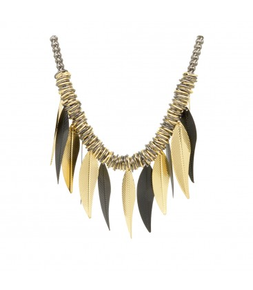 Leaf Choker Black with Gold