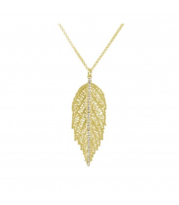 Large Leaf with Crystals Necklace Gold