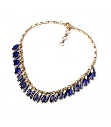 Statement Antique Gold Necklace with Sapphire Blue Crystals