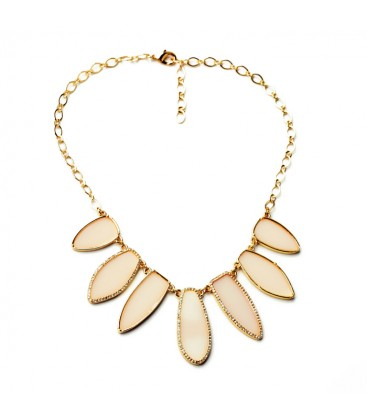 Blush Pink STONE WITH DIAMANTE DETAIL NECKLACE