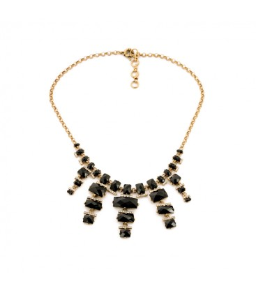 Black Faceted Resin Drop Necklace with Crystals