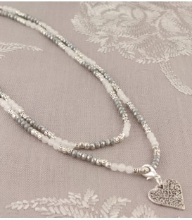Jemima Necklace in Silver & Grey