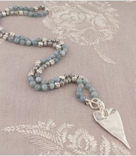 Lila Heart Necklace in Grey Jade & Crystal