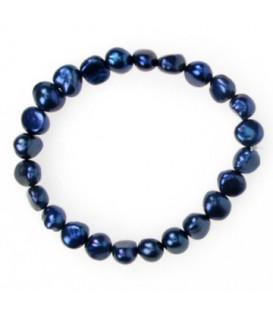 Navy Elastic Pearl Bracelet