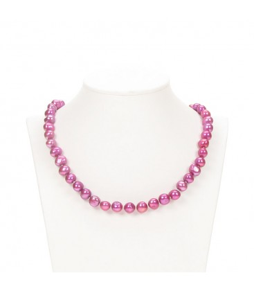 Potato Pearl Necklace Pink Berry