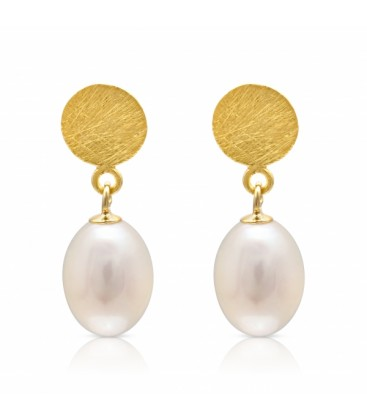 Gold Disc Studs with white tear drop pearl