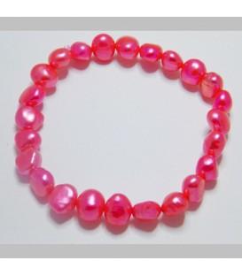 Bright Pink Elastic Pearl Bracelet
