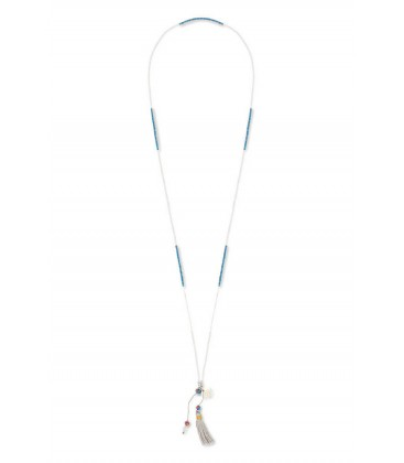 Boho Betty Beyla Miyuki beaded Necklace with Silver Tassel