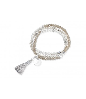 Boho Betty Azalea Silver Tassel Stretch Bracelet