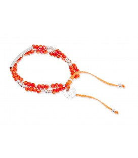 Boho Betty Exit 2 Strand Coral & Silver Friendship Bracelet